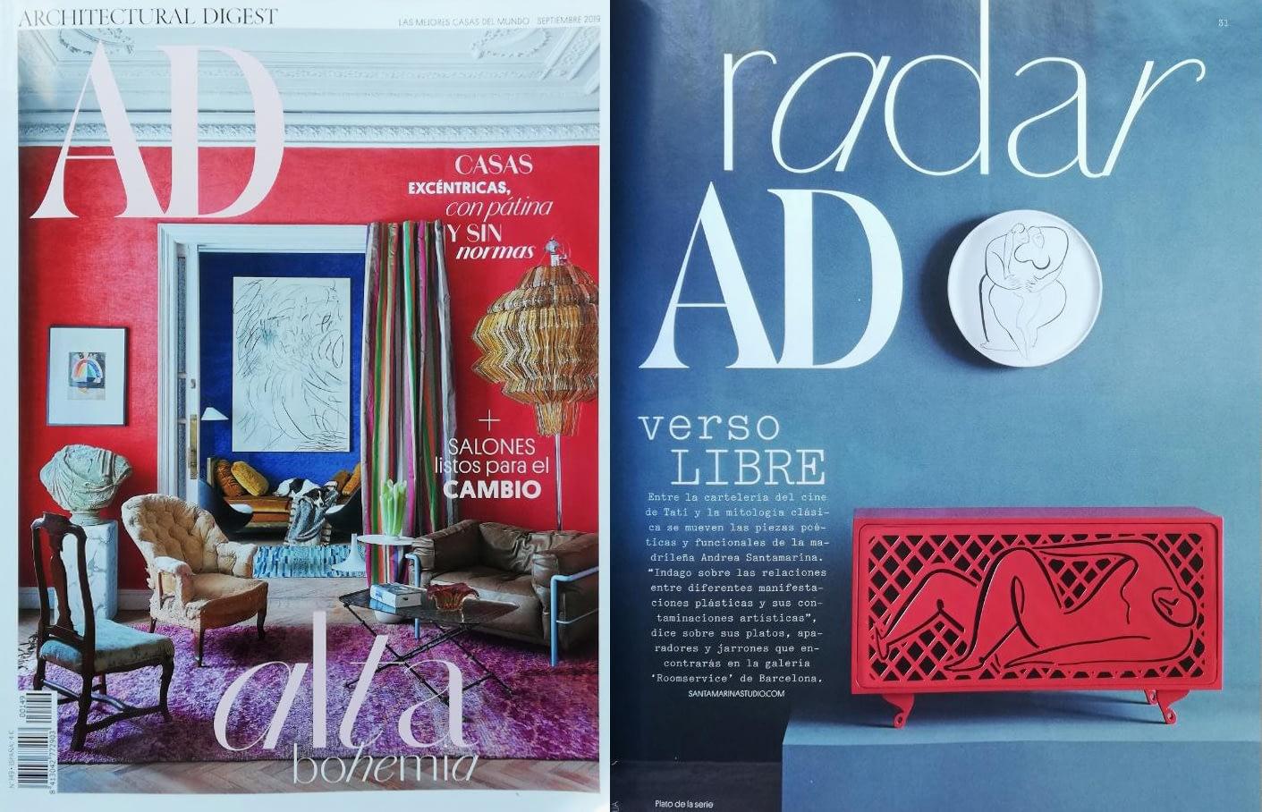 Andrea Santamarina Press AD Spain Room Service Design Gallery Barcelona Design Week Design Art corregido