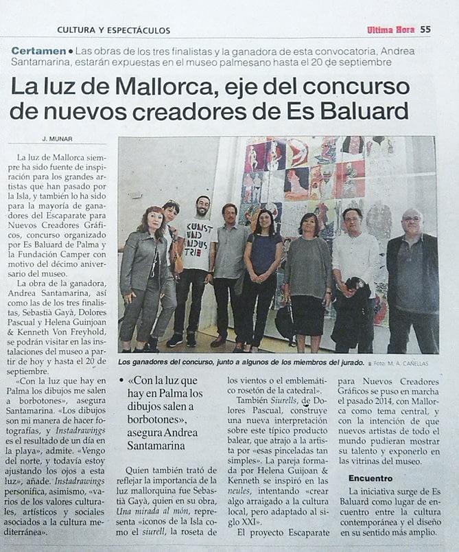 Andrea Santamarina última hora mallorca Camper EsBaluards Premio creadores gráficos Instadrawings Ramón Úbeda corregido